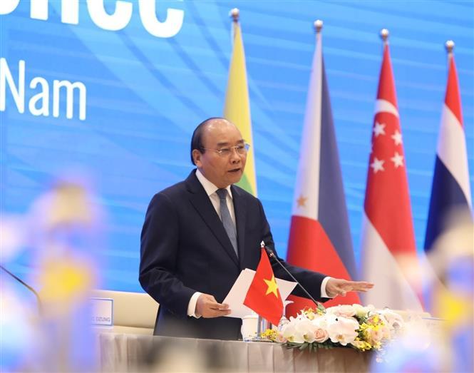 Trong ảnh: Thủ tướng Nguyễn Xuân Phúc, Chủ tịch ASEAN 2020 phát biểu. Ảnh: TTXVN
