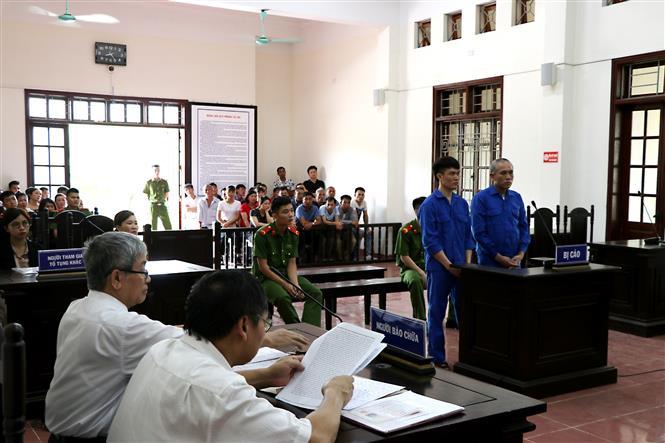 Trong ảnh: Quang cảnh phiên tòa xét xử sơ thẩm vụ án. Ảnh: Thanh Hải - TTXVN