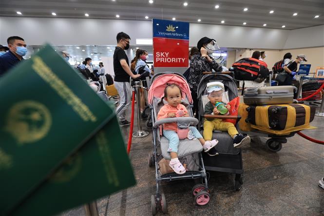 Trong ảnh: Chuyến bay đặc biệt thứ hai mang số hiệu VN5062 của Hãng hàng không Việt Nam (VNA) đưa hơn 280 công dân Việt Nam trong đó có 17 trẻ em trở về nước. Ảnh: Trần Hiếu - Pv TTXVN tại LB Nga