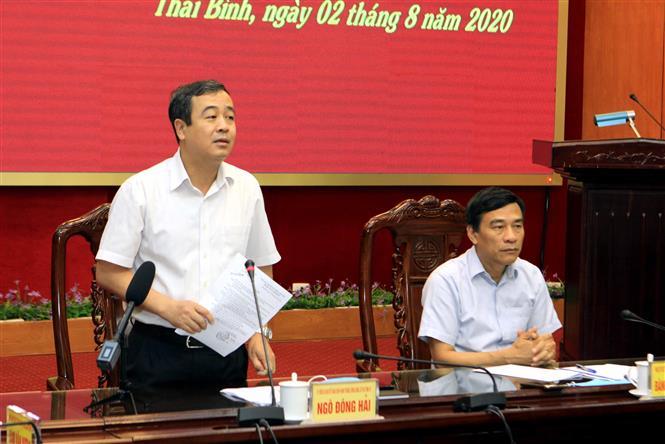 Trong ảnh: Đồng chí Ngô Đông Hải, Ủy viên Dự khuyết Trung ương đảng, Bí thư Tỉnh ủy Thái Bình phát biểu tại cuộc họp. Ảnh: Thế Duyệt – TTXVN