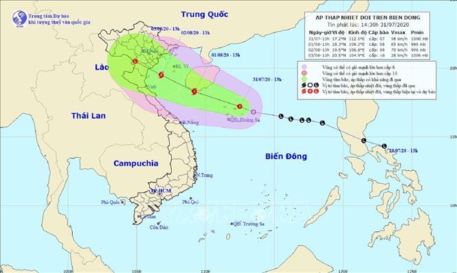 Hình ảnh một cơn áp thấp nhiệt đới trên biển Đông