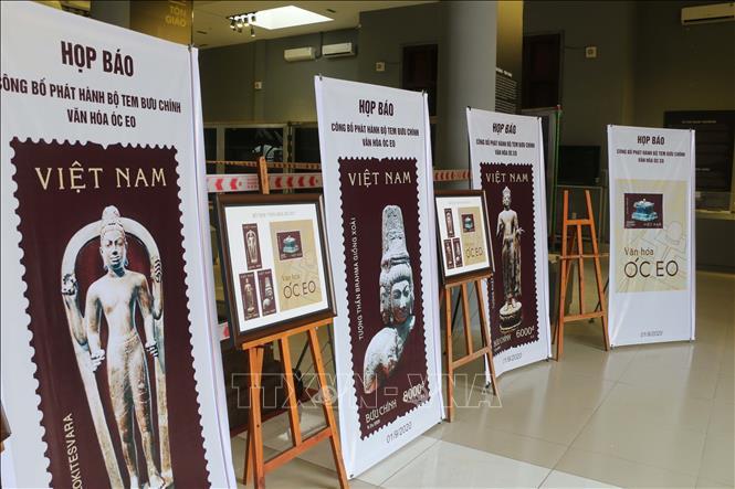 """Một góc trưng bày, giới thiệu bộ tem """"Văn hóa Óc Eo"""" tại Nhà trưng bày hiện vật của Ban Quản lý Di tích Văn hóa Óc Eo tỉnh An Giang. Ảnh: Công Mạo -TTXVN"""