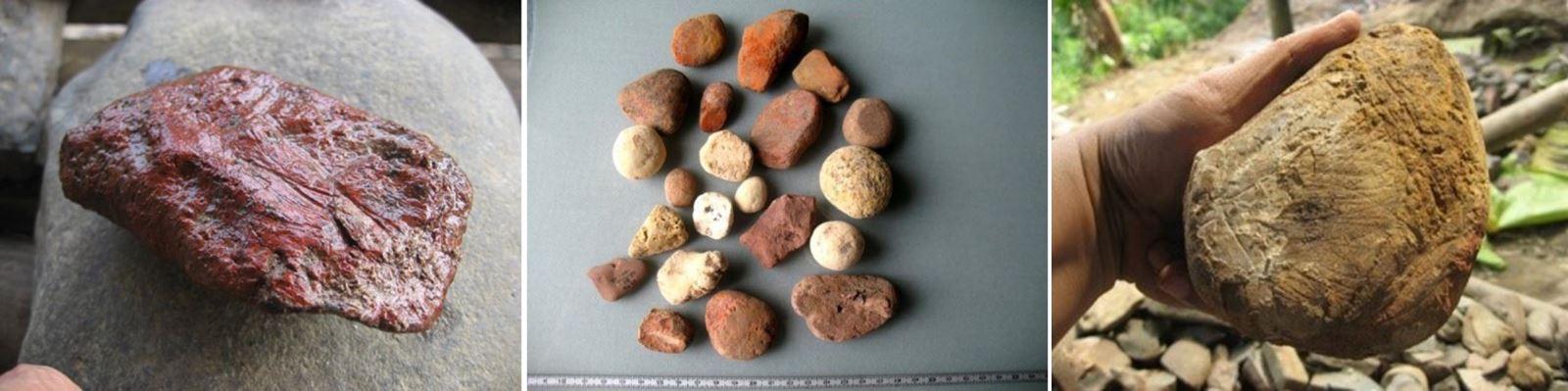 Hàng ngàn viên đá dạng cuội lăn tại mái đá Đú Sáng và hang Xóm Trại