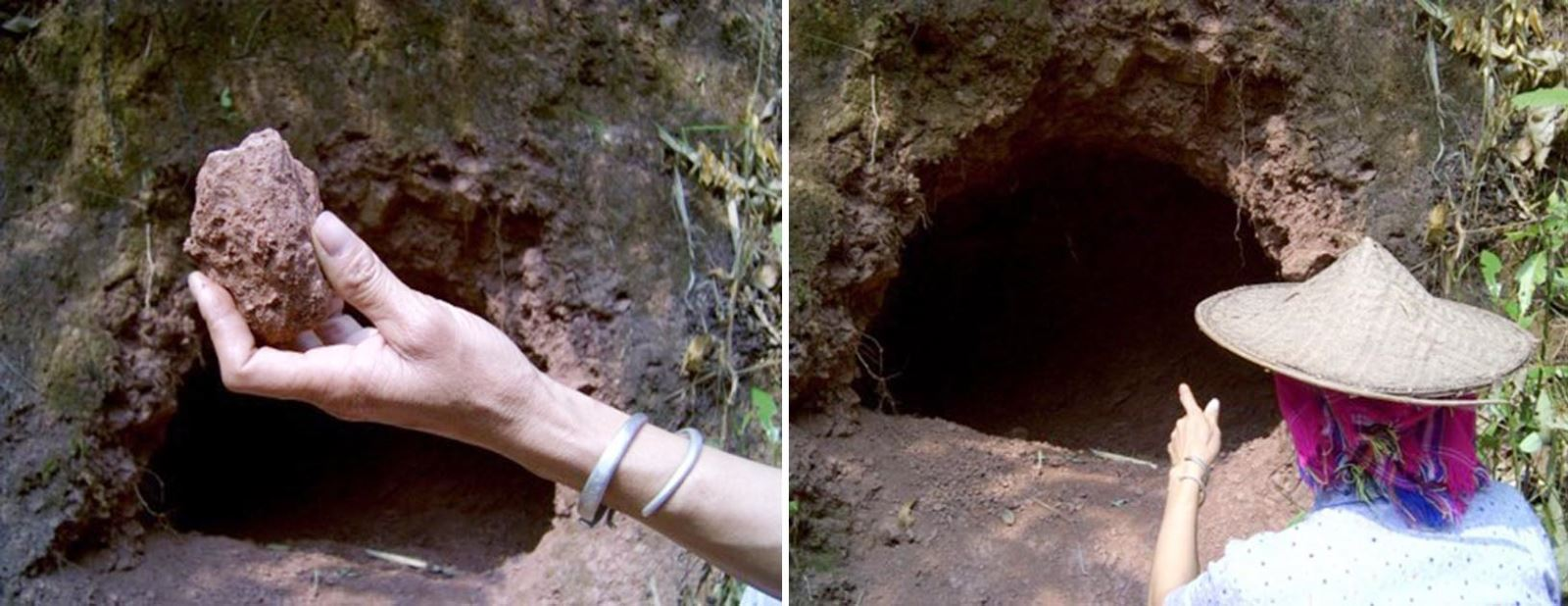 Người dân lấy đá khoáng từ trầm tích địa chất tự nhiên