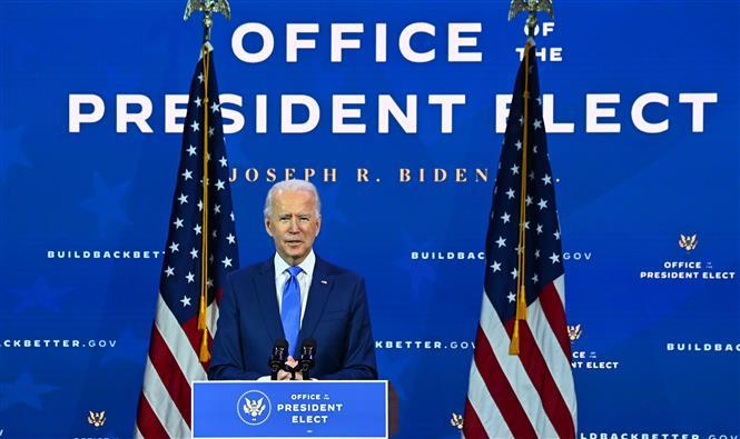 Trong ảnh: Tổng thống đắc cử Joe Biden phát biểu tại Wilmington, Delaware, Mỹ, ngày 1/12/2020. Ảnh: AFP/TTXVN