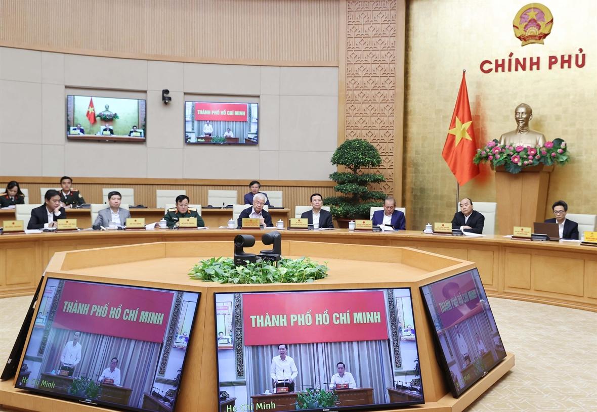 Ban Chỉ đạo phòng, chống COVID-19 Thành phố Hồ Chí Minh phát biểu. Ảnh: Thống Nhất – TTXVN