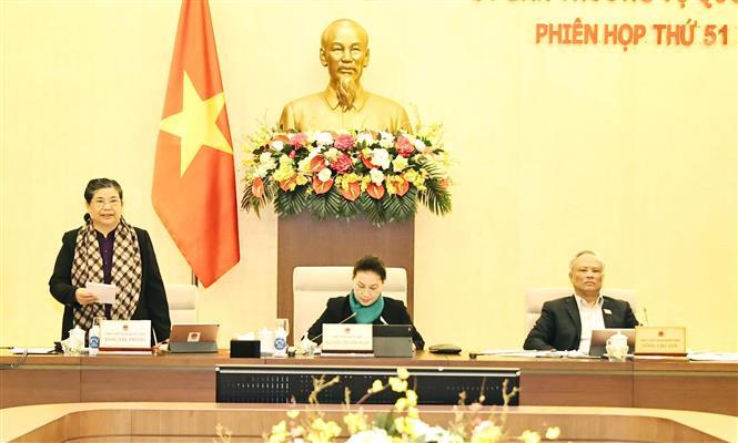 Trong ảnh: Phó Chủ tịch Thường trực Quốc hội Tòng Thị Phóng phát biểu ý kiến tại phiên họp. Ảnh: Trọng Đức - TTXVN