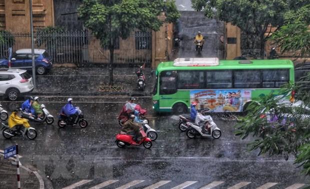 Khu vực Hà Nội nhiều mây, có mưa rào và rải rác có dông.