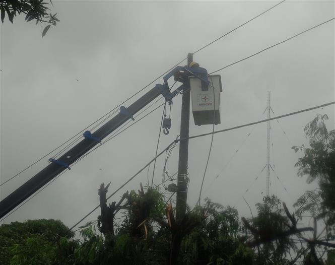 Điện lực Quảng Bình huy động người cà máy móc để khắc phục hậu quả sau bão số 5, để sớm đống điện trở lại. Ảnh: Đức Thọ - TTXVN