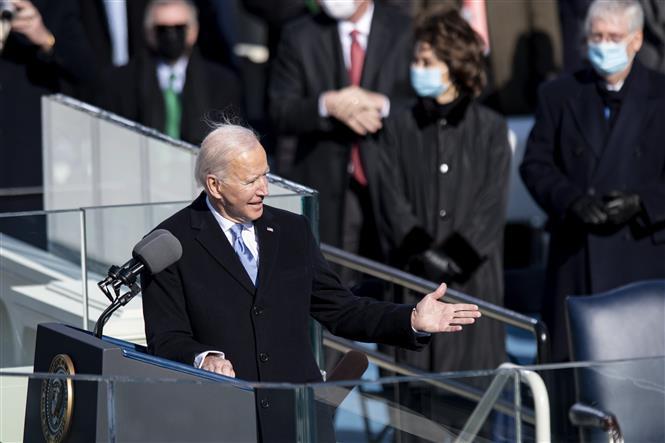 Trong ảnh: Tân Tổng thống Mỹ Joe Biden phát biểu sau khi tuyên thệ nhậm chức tại Đồi Capitol, Washington DC., ngày 20/1/2021. Ảnh: THX/TTXVN