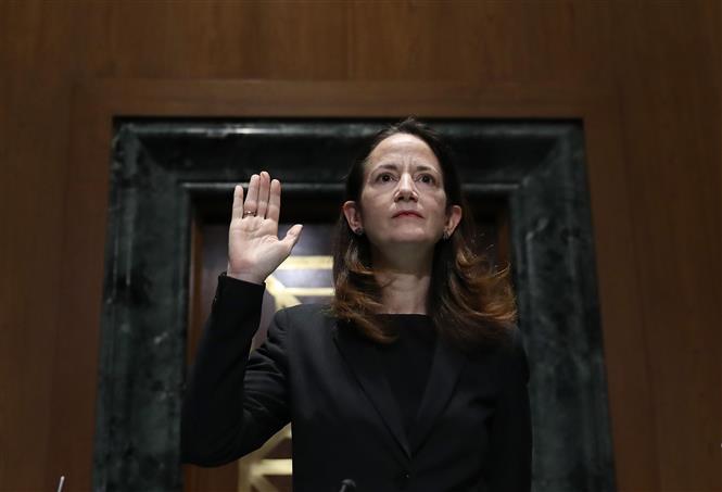 Trong ảnh: Bà Avril Haines trong phiên điều trần tại Quốc hội Mỹ ở Washington, DC, ngày 19/1/2021. Ảnh: AFP/TTXVN