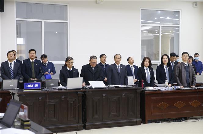 Trong ảnh: Đại diện luật sư bào chữa cho các bị cáo. Ảnh: Doãn Tấn - TTXVN