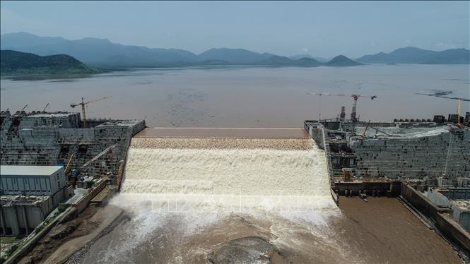 Toàn cảnh công trình xây dựng đập thủy điện Đại Phục Hưng ở Guba, Ethiopia ngày 20/7/2020. Ảnh: AFP/TTXVN
