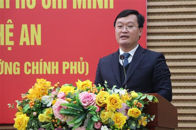 Chủ tịch UBND tỉnh Nghệ An Nguyễn Đức Trung phát biểu tại lễ Công bố. Ảnh: Bích Huệ - TTXVN