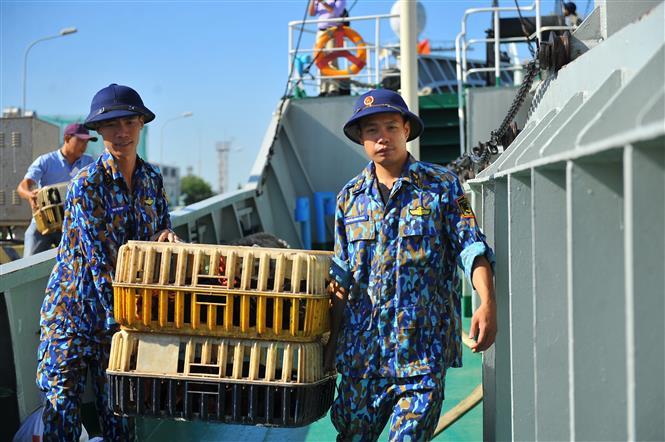 Các chiến sĩ Vùng 2 Hải quân vận chuyển các món quà và nhu yếu phẩm lên tàu để mang ra cho các chiến sĩ ngoài nhà giàn. Ảnh: Minh Đức - TTXVN
