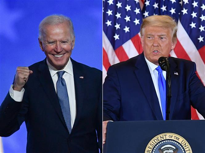 (tư liệu): Ông Joe Biden (trái) và ông Donald Trump. Ảnh: AFP/ TTXVN