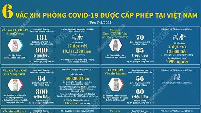 6 vắc xin phòng Covid-19 được cấp phép tại Việt Nam tính đến 3/8/2021