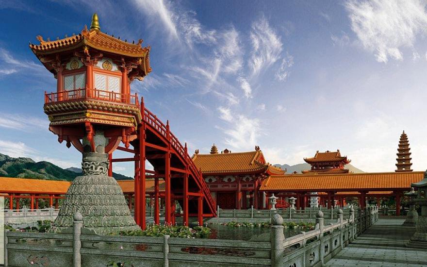 Quần thể chùa Diên Hựu với Liên hoa đài (kiến trúc Một Cột) được phục dựng bởi Sen Heritage. Ảnh: Internet