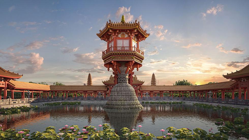 Phần cột đá của Liên hoa đài được phục dựng từ cột đá của chùa Dạm (Bắc Ninh). Ảnh: Internet
