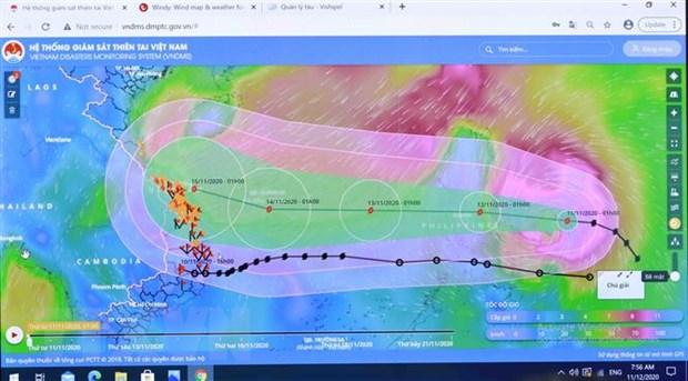 Sơ đồ đường đi của bão số 13 qua Hệ thống giám sát thiên tai Việt Nam. (Ảnh: Vũ Sinh/TTXVN)