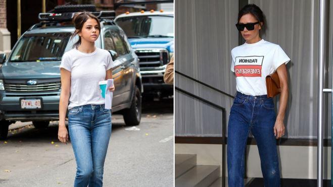 Selena Gomez 'bắt chước' street style áo phông trắng của Victoria Beckham