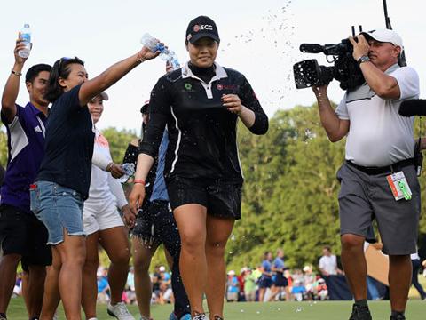 Khoảnh khắc Ariya Jutanugarn vô địch US Open. Ảnh: TM