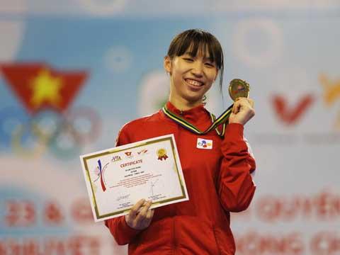 Kim Tuyền là hy vọng vàng của môn Taekwondo, sau nội dung đồng đội Quyền biểu diễn. Ảnh: Lê Giang