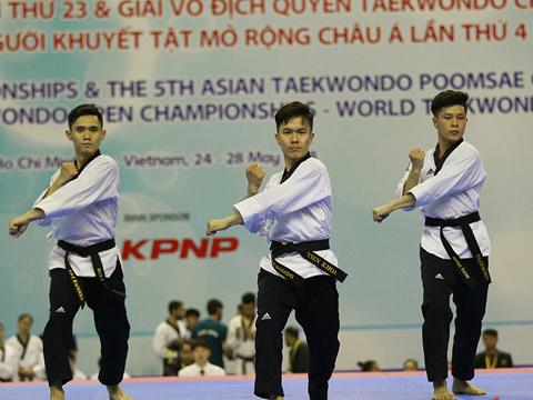 Các VĐV đội quyền Taekwondo Việt Nam có nhiều hy vọng vàng ASIAD năm nay. Ảnh: VT