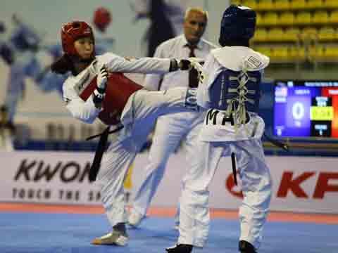Kim Tuyền là hy vọng ở nội dung đối kháng của Taekwondo Việt Nam. Ảnh: VT