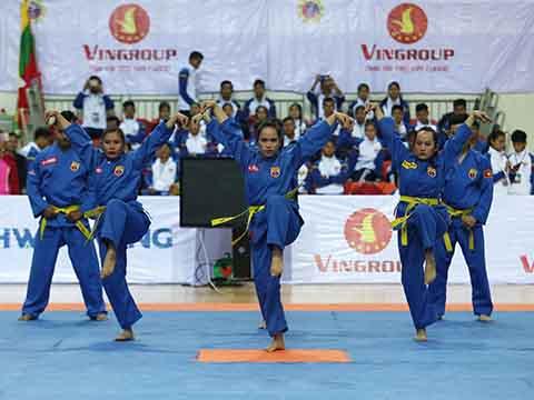 Các võ sĩ Việt Nam biểu diễn ở Lễ khai mạc. Ảnh: BM