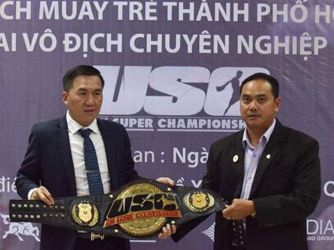 Chiếc đai vô địch này sẽ giúp làng Muay TP.HCM sôi động. Ảnh: BM