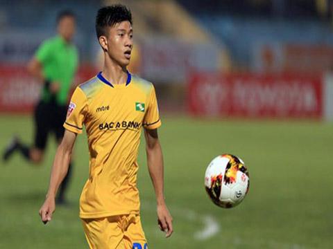 Văn Đức đã có 9 bàn cho SLNA ở V-League 2018, trong đó có cú đúp vào lưới Sài Gòn ở lượt về để giúp SLNA ngược dòng. Ảnh: VPF