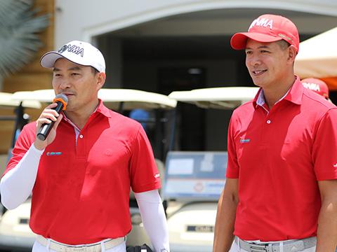 Các nghệ sĩ Chi Bảo, Quyền Linh trên sân golf . Ảnh: NH