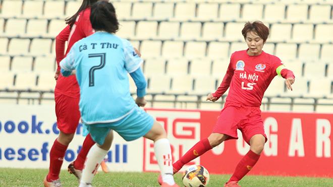 Đội trưởng Phạm Hải Yến của Hà Nội đang dẫn đầu danh sách Vua phá lưới mùa này. Ảnh: PH