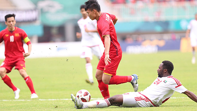 Olympic Việt Nam hòa Olympic UAE 1-1 ở hai hiệp chính năm 2018