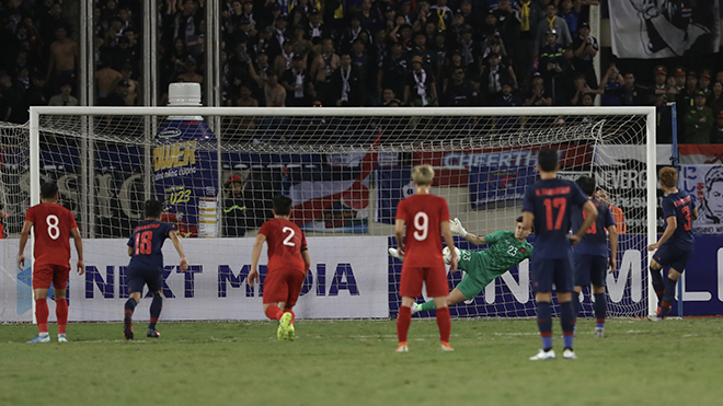 Hình ảnh Văn Lâm xuất sắc dùng chân cản phá quả 11m của Bunmathan phút 28 trận đấu. Ảnh: Hoàng Linh