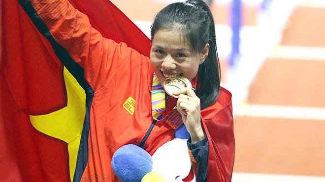 Nguyễn Thị Huyền giúp điền kinh Việt Nam thống trị khu vực như 2 năm trước dù mới sinh con không lâu. Ảnh: Vũ Tú