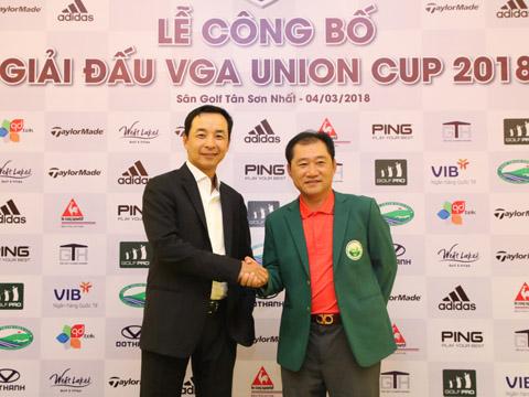 Đội trưởng Hùng Nam của đội golf miền Bắc và Hùng Phạm của đội golf miền Nam. Ảnh: BM