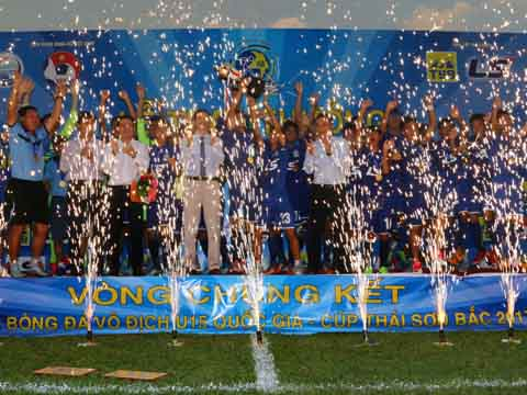 Sau chức vô địch U17 QG, U15 PVF tiếp tục chứng tỏ sức mạnh ở giải U15 QG. Ảnh: Quang Phương