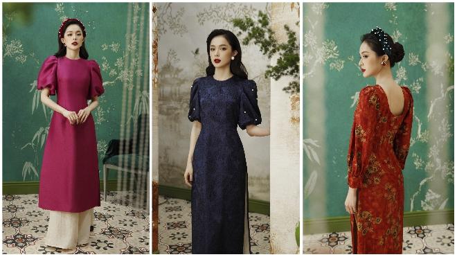 Hạ Vi khoe nét gợi cảm yêu kiều trong bộ sưu tập áo dài Tết