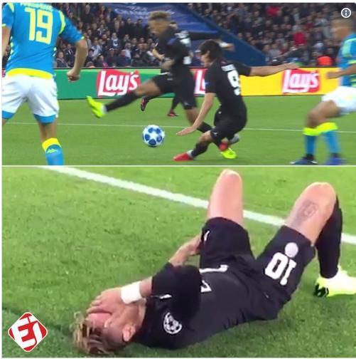 HY HỮU: Neymar chấn thương vì bị Cavani phạm lỗi ngay trong vòng cấm của Napoli
