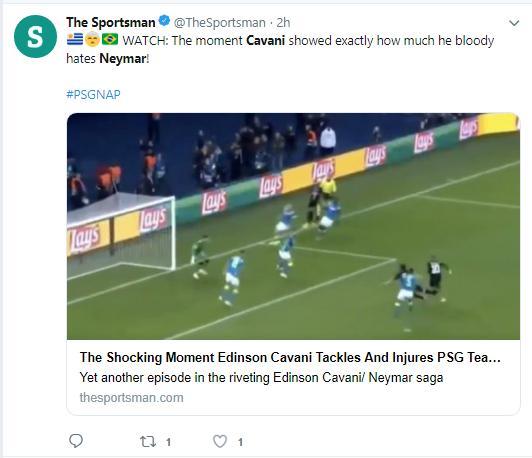 Cavani bị 'ném đá' dữ dội vì pha tắc bóng với Neymar