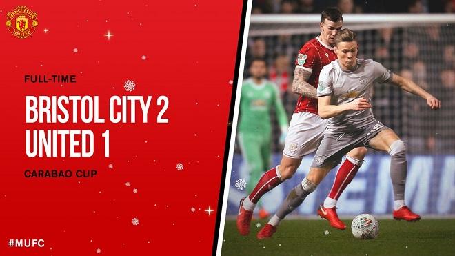 Video bàn thắng và clip highlights Bristol City 2-1 M.U: Cú sốc đối với Jose Mourinho!
