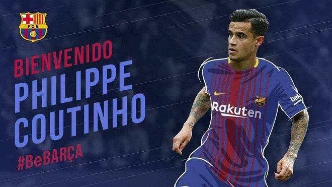 Coutinho chính thức gia nhập Barcelona với giá kỷ lục 160 triệu euro