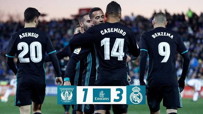Leganes 1-3 Real Madrid: Vắng Ronaldo, Real ngược dòng, leo lên thứ 3
