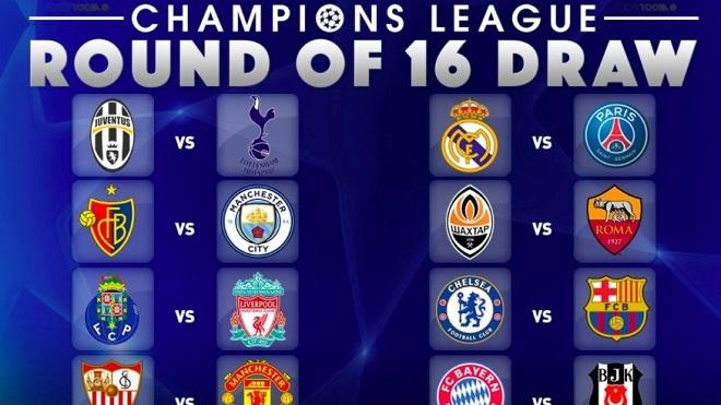 Hướng dẫn, cách xem trực tiếp các trận vòng 1/8 Champions League