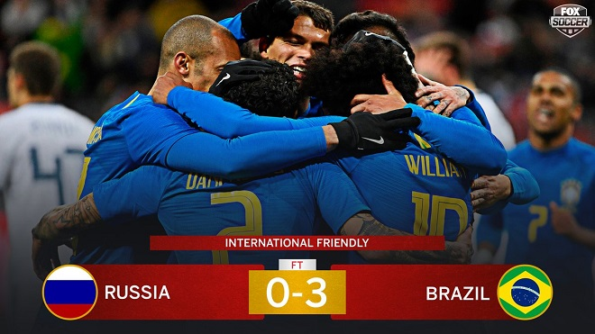 Giao hữu quốc tế: Brazil đè bẹp Nga 3-0, Pháp thua sốc Colombia