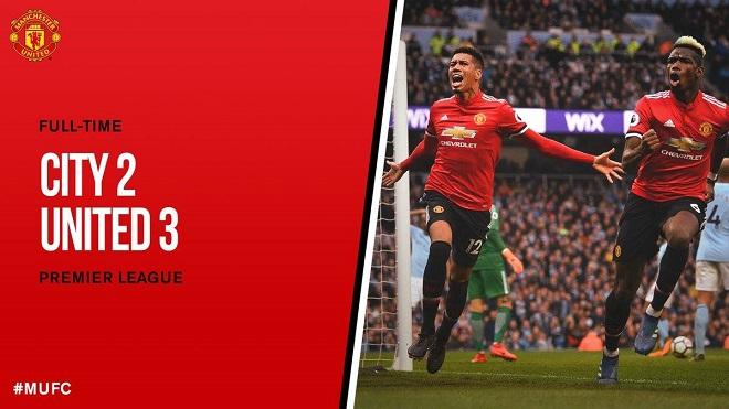 Man City 2-3 M.U: Pogba và Smalling tỏa sáng, M.U ngăn Man City đăng quang sớm