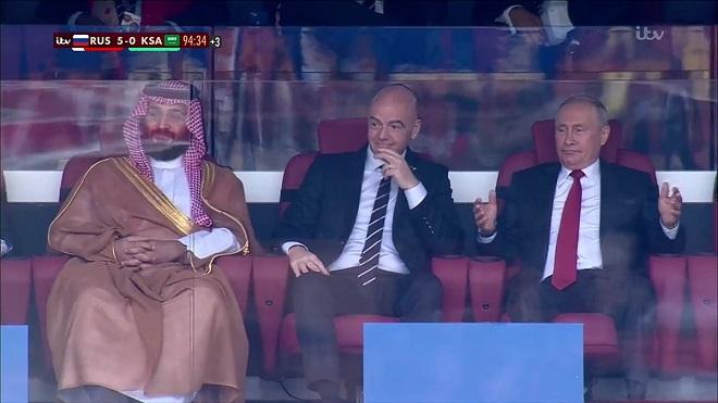 Nga 5-0 Saudi Arabia: Tổng thống Putin gây sốt với phản ứng sau mỗi bàn thắng của đội nhà