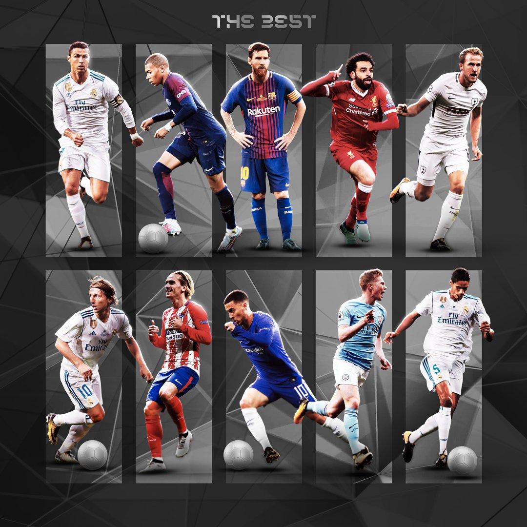 The Best, Cầu thủ xuất sắc nhất năm 2018 của FIFA, Cristiano Ronaldo, De Bruyne, Griezmann, Eden Hazard, Harry Kane, Kylian Mbappe, Lionel Messi, Luka Modric, Varane